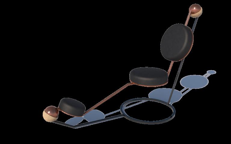 Jiffy chair: De stoel is ontworpen om comfortabel te zitten, half zittend/liggend zorgt hij voor de positie om optimaal gebruik te kunnen maken van de jiffy table. Deze stoel schommelt licht door de ophanging die als een kogelscharnier werkt.