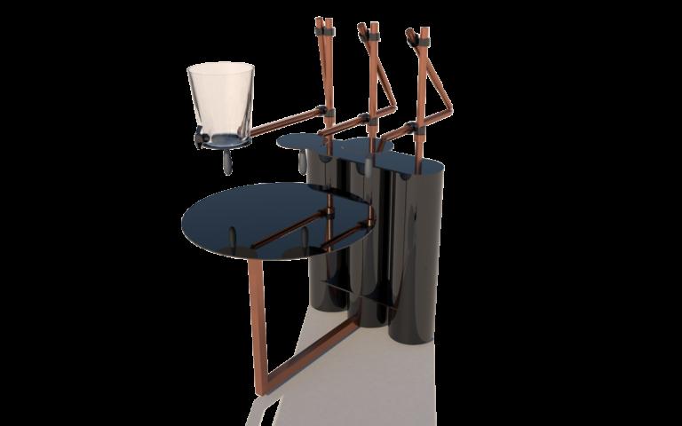 Jiffy table:Door zijn uitschuifbare armen die kunnen roteren rond eigen as, ontstaat er een interactie tussen de 2 personen. De interactie bestaat uit 2 delen, enerzijds de handelingen die men doet ten opzichte van elkaar en tegelijkertijd maak je een herinnering aan.