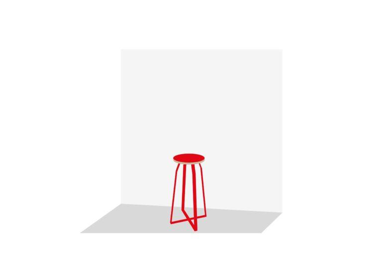 TRUMP 1: Red Tie: rood gelakt staal en multiplex