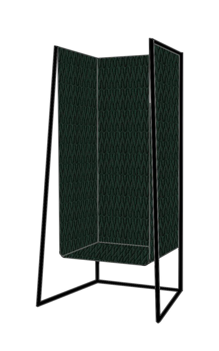 Omdat ik iemand ben die oog heeft voor textiel, houd ik er altijd van om 1 van mijn ontwerpen hierop te richten. Niet alle mensen kunnen zich een hangstoel veroorloven daar ze geen optie hebben deze aan het plafond te bevestigen. Ik ontwierp een knusse zitplaats vervaardigd uit zachte 3D textiel die aan een stalen frame hangt, en die dus in elke huiskamer kan staan. Er is een groot contrast tussen het koude, vlakke staal en de zachte driedimensionale stof. Dit contrast leidde mij naar de perfecte combinatie tussen warm en koud.