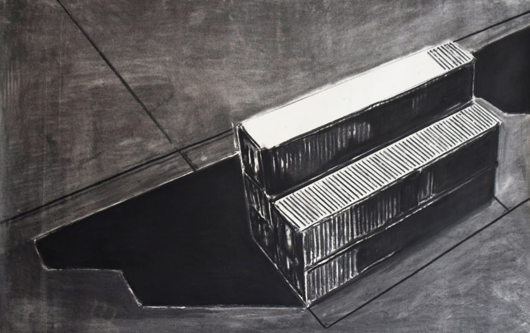 Untitled,Charcoal on paper, 150 X 100 cm, 2017