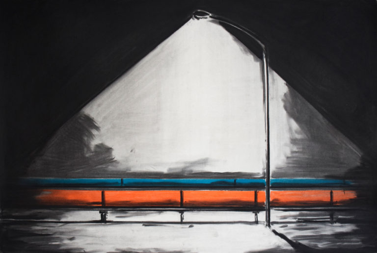 Colored pipelines, Charcoal and pastel on paper, 108 X 74 cm, 2017