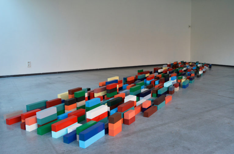 Installationview masterproject Ideal X.Containerinstallation, wood and lacquer,2017. KASK.