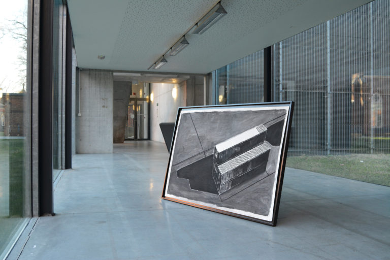 Installationview masterproject Ideal X,wooden frame, lacquer and charcoal on paper, 157 X 107 cm, 2017. KASK.