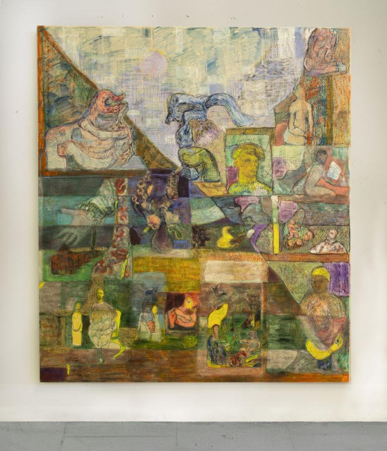 Paola Angelini,Giardino Mosaico I, 180 x 200 cm, Oil on canvas, 2017