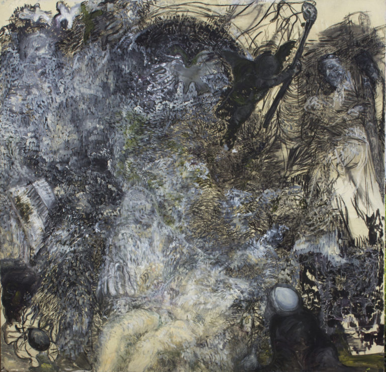 Paola Angelini, Matrice / Mold, 200 x 200 cm, Oil and charcoal on linen, 2015