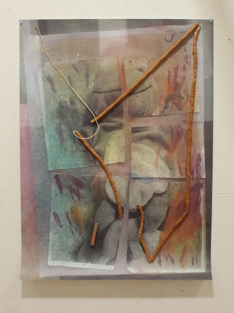 Now it's Snowing, 2017,Digital Print, Air-Dry Clay, Dust, Varnish, Glue, String, Pins, 120 x 87cm