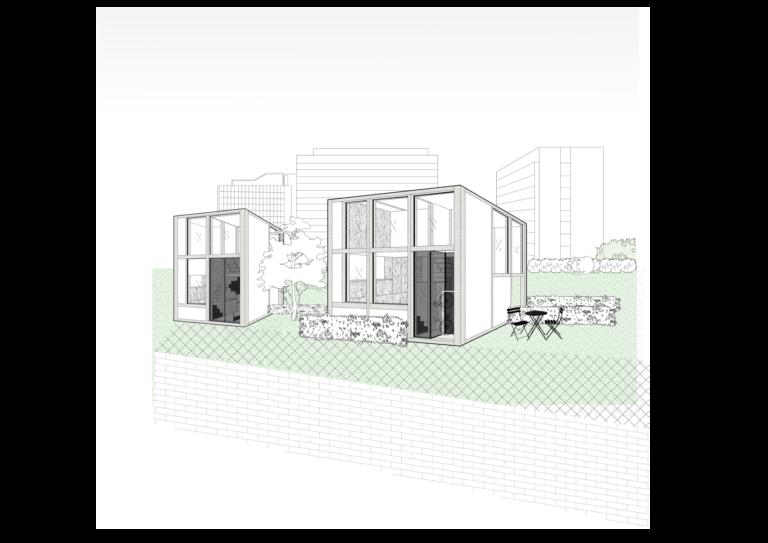 Buitenaanzicht unit 30 m² en 60 m²