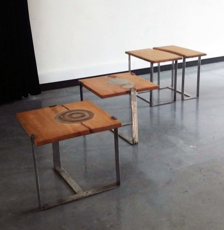 Tables: wood, steal and concrete.