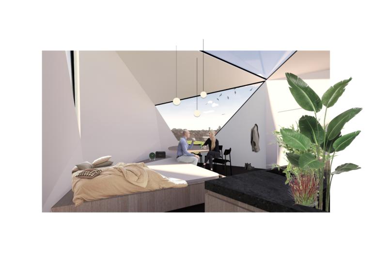 Micro-wonen:zitten en slapen gecombineerd  oppervlakte van 90m²