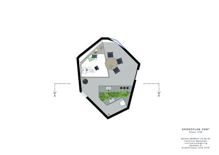 Grondplan woonunit 30m²