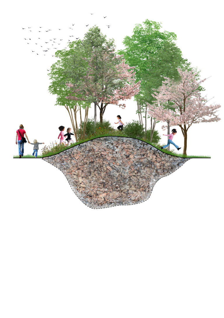 Visualisatie sloopmateriaal gebruiken voor (speel)heuvels