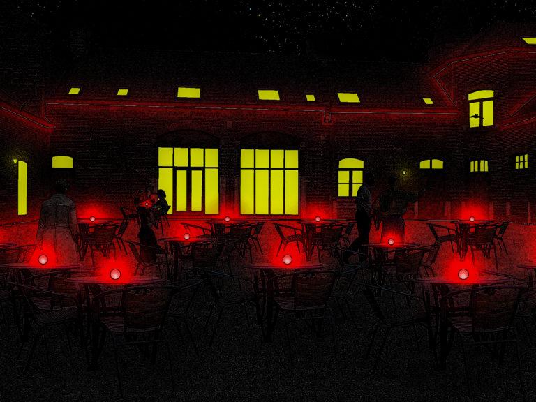 Kasteeldomein Wildenburg, terras brasserie, nacht