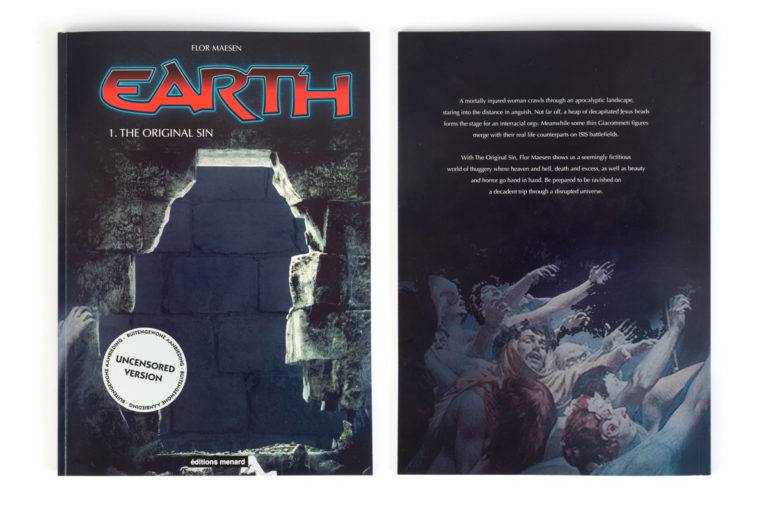 EARTH is an original comic series made by flor Maesen and published by Editions Menard. The first edition named 'The Original Sin' originated from Maesen's sketchbook in which images from different origins were grouped together into eclectic collages. The links and stories evoked by the images form the basis for possible works of art. What connects the different ensembles is the deeply human questioning nature towards the causes of conflict, the thin line between humanity and animality and the possibility of an all-encompassing sin: identity.