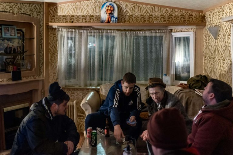 Cardgames in Uncle Paddy's trailer.