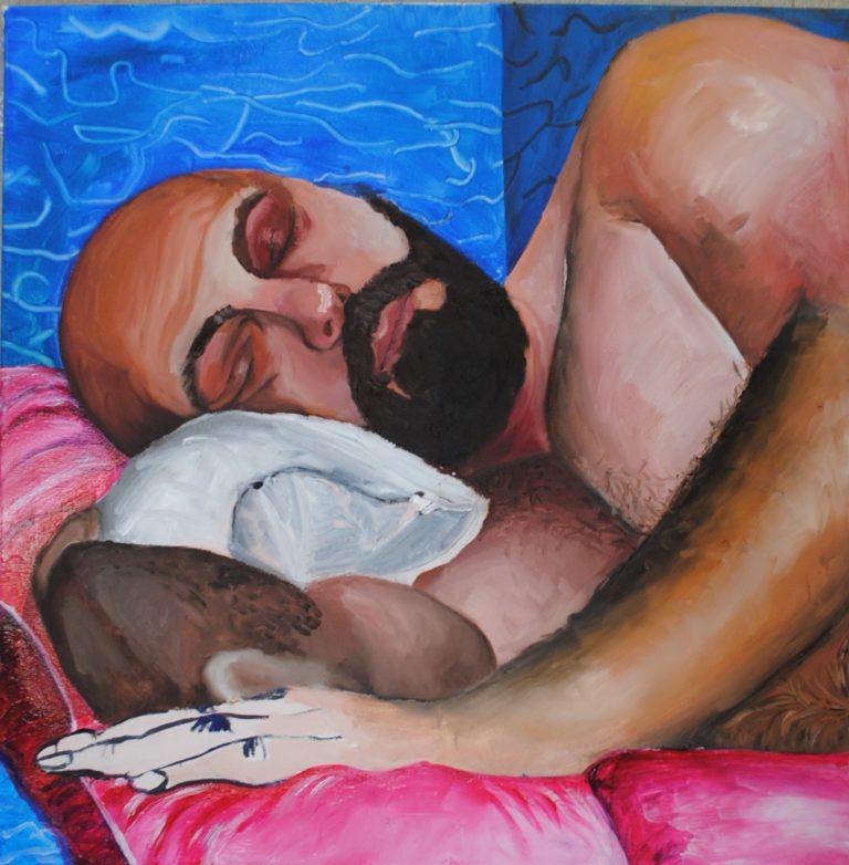 Sleeping Beauty: De Androgyn (ongecensureerd), 60X60 cm, olieverf en acryl op canvas